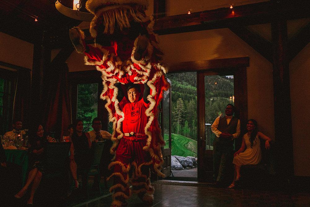 Lion Dance Chinese wedding Silvertip Resort AB