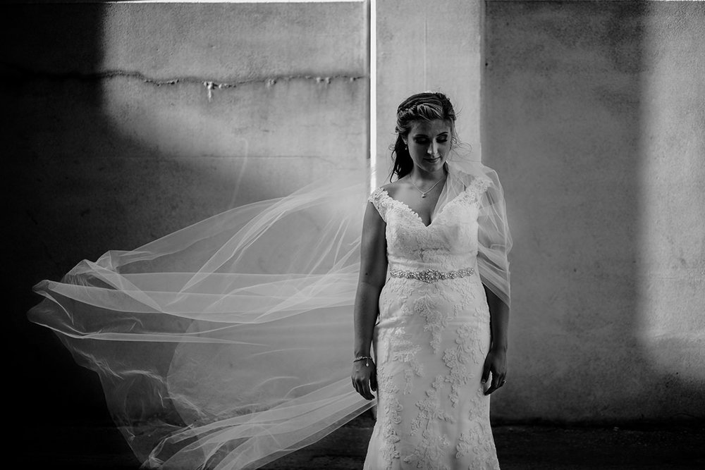 Winnipeg wedding photographers black 'n white veil