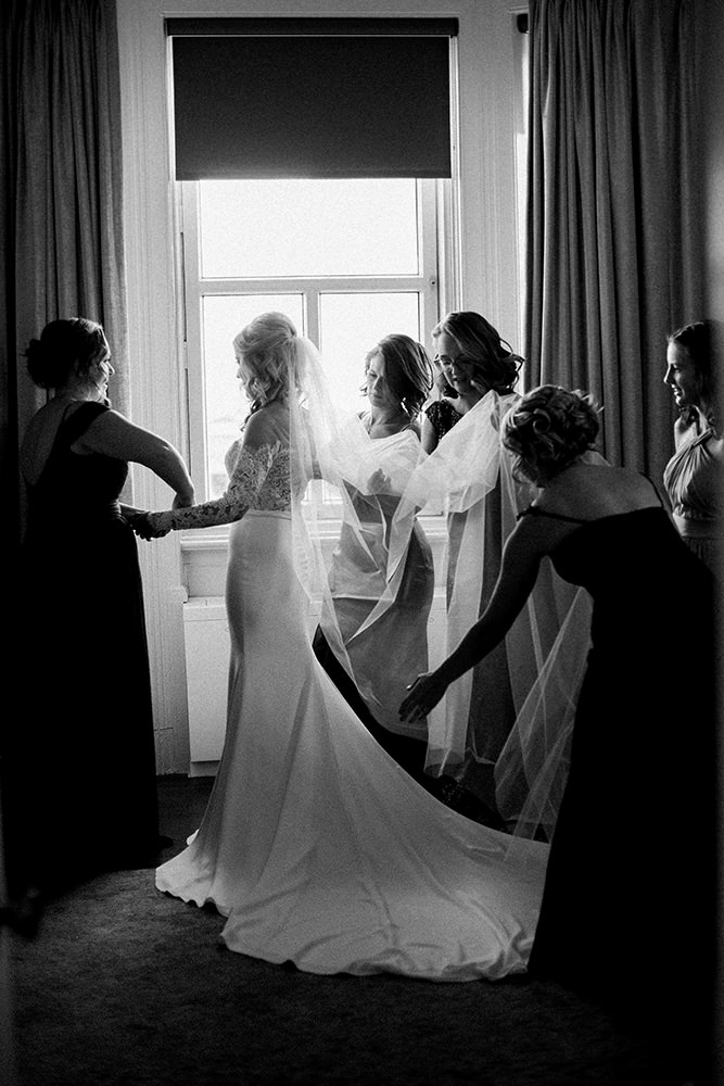 Bride getting ready at Hotel Fort Garry