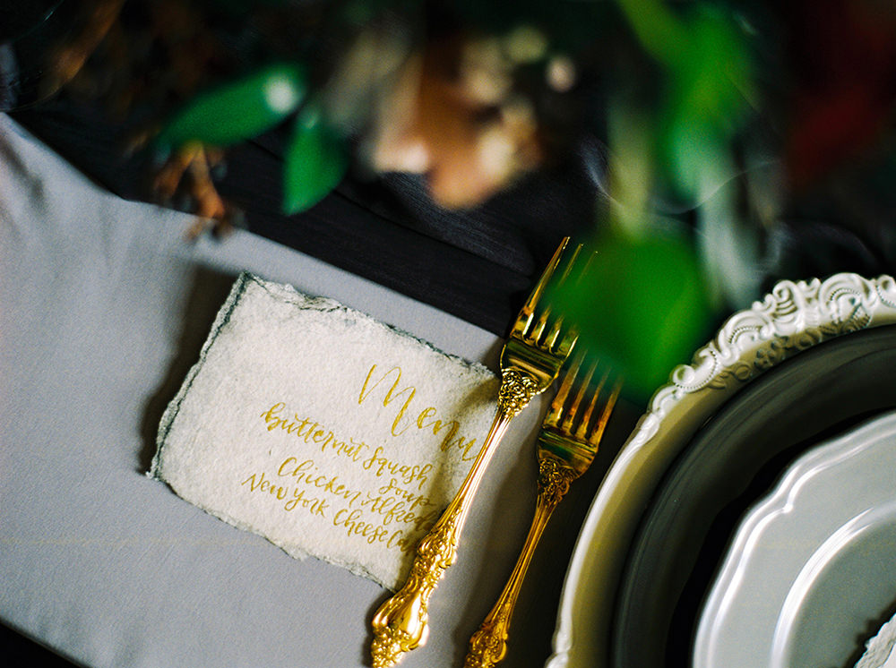 Calligraphy wedding menu and place cards