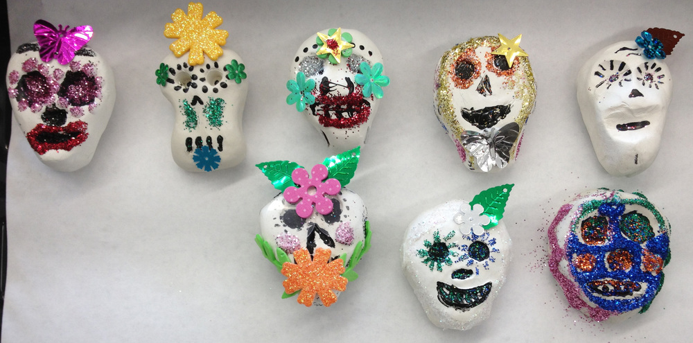 Magnets made by 5th and 6th graders with Mrs. Moody for Dia de los Muertes.
