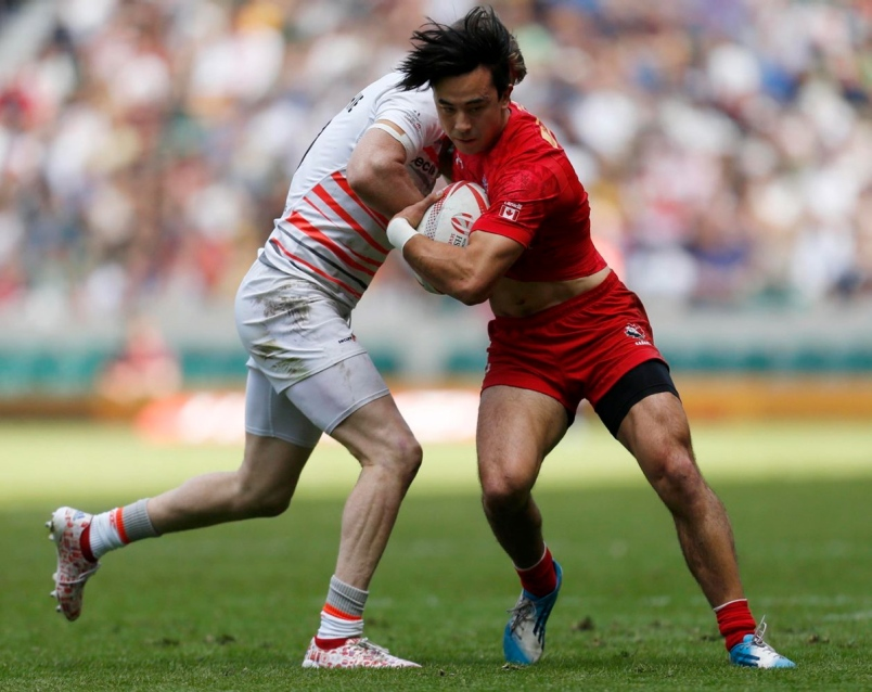 Nathan Hirayama (right) will be at the Commonwealth Games with the Canadian men's rugby sevens team.  Photograph By PAUL HARDING, THE ASSOCIATED PRESS