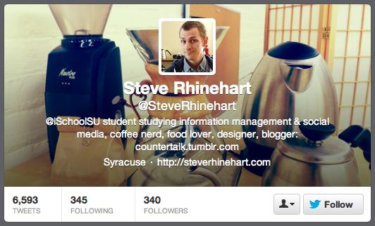@SteveRhinehart on Twitter, he's a coffee expert.
