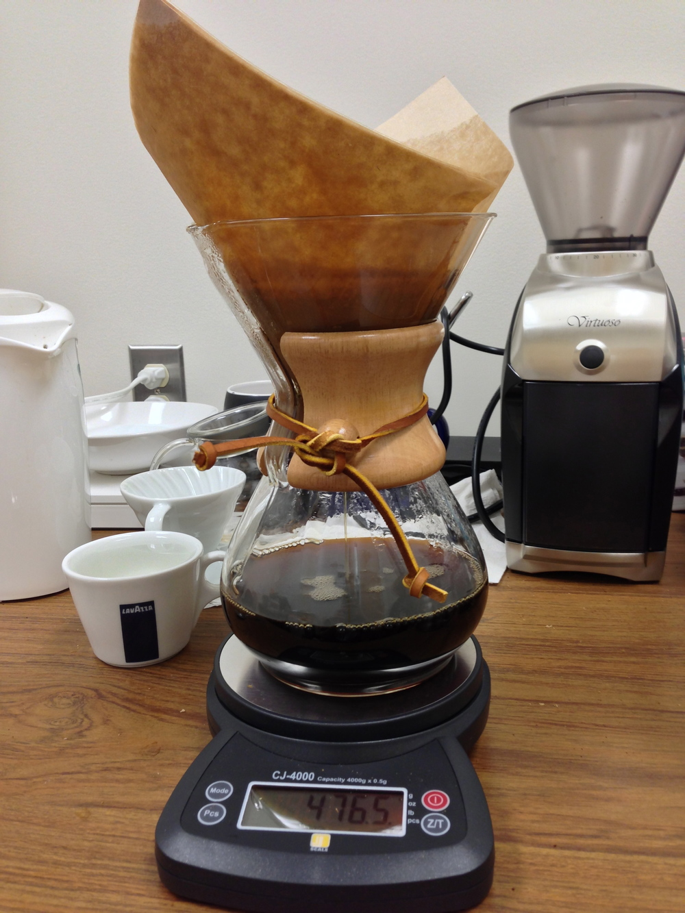 Chemex, Hario V-60, CJ-4000 scale, and Virtuoso burr grinder