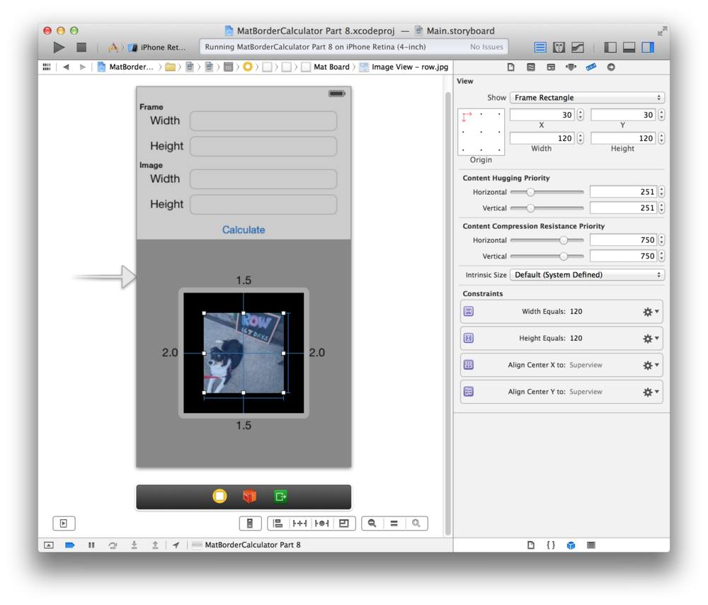 Auto Layout Constraints in Xcode 5 as  blue barbells