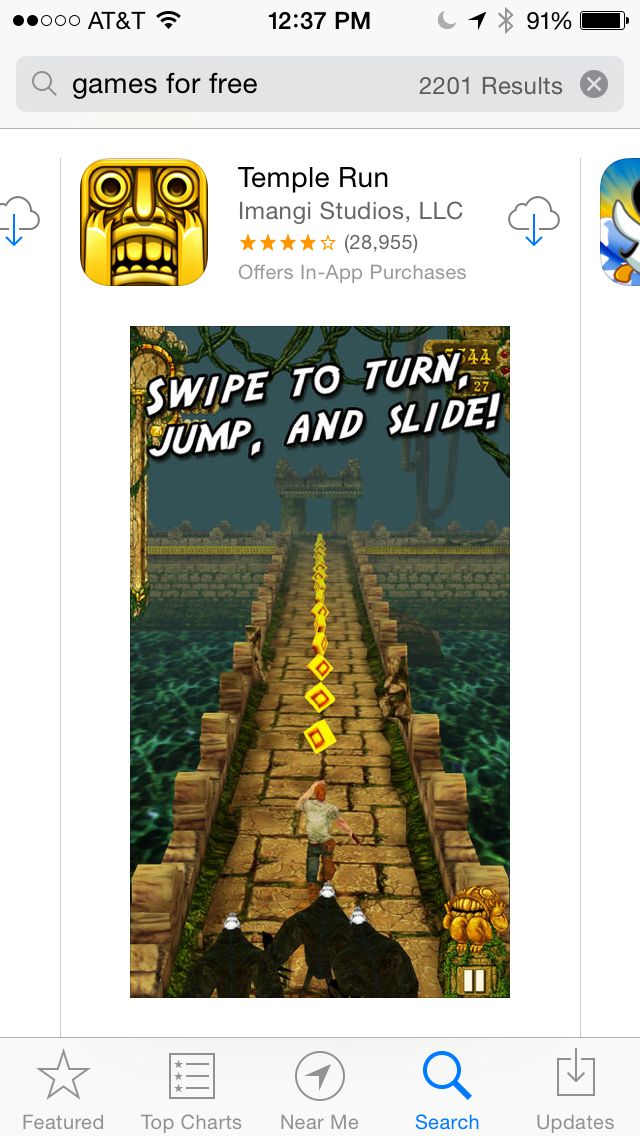 App Store Search - Temple Run