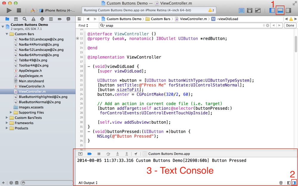 The NSLog() function displays text in the Console panel in Xcode.
