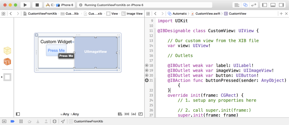 Create an IBDesignable UIView subclass with code from an XIB file in ...