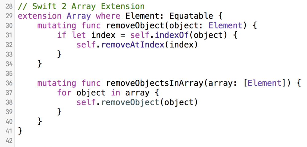 removeObjectsInArray Swift Protocol Extension.png