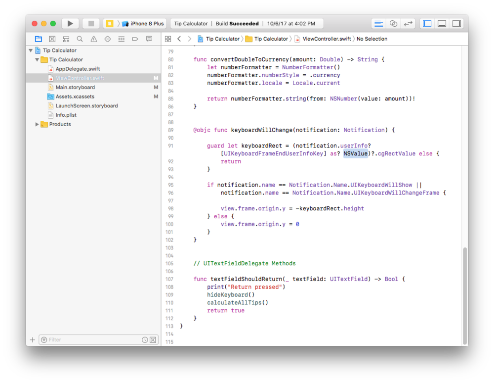 Xcode project files - Get the source code for the start and end of every lesson.