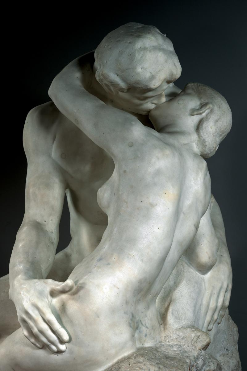 """The Kiss""  circa 1882 Rodin Official Picture from the  Musée Rodin   T  he Kiss originally represented Paolo and Francesca, two characters borrowed, once again, from Dante's   Divine Comedy  : slain by Francesca's husband who surprised them as they exchanged their first kiss, the two lovers were condemned to wander eternally through Hell."