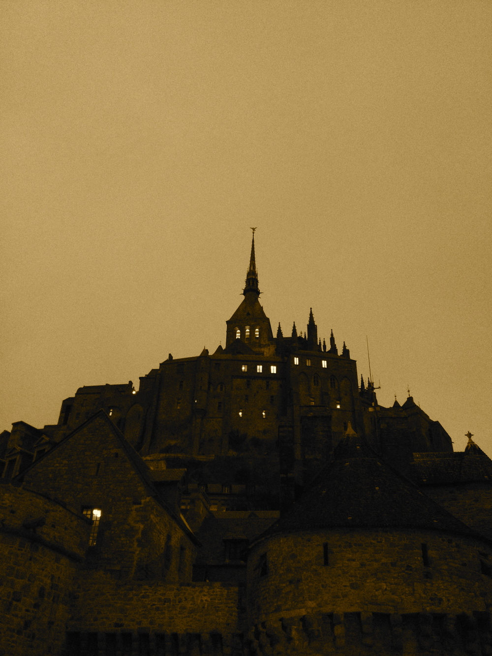nightfall at Mont Saint Michel