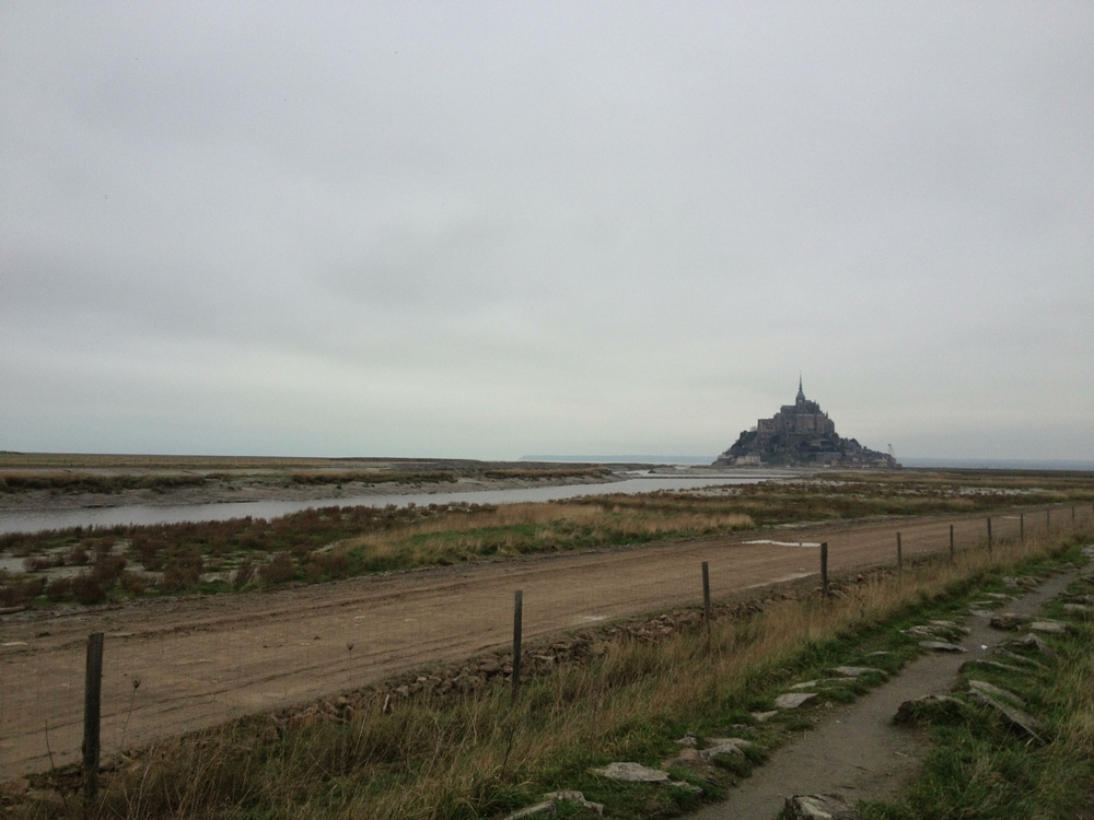 Mont Saint Michele from a distance, on the walk