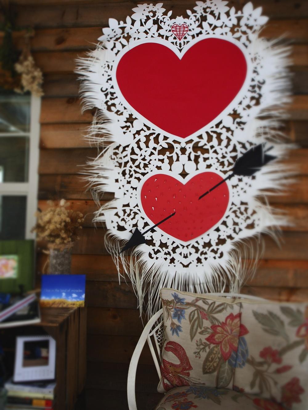 My winter writer's porch, with my Valentine.