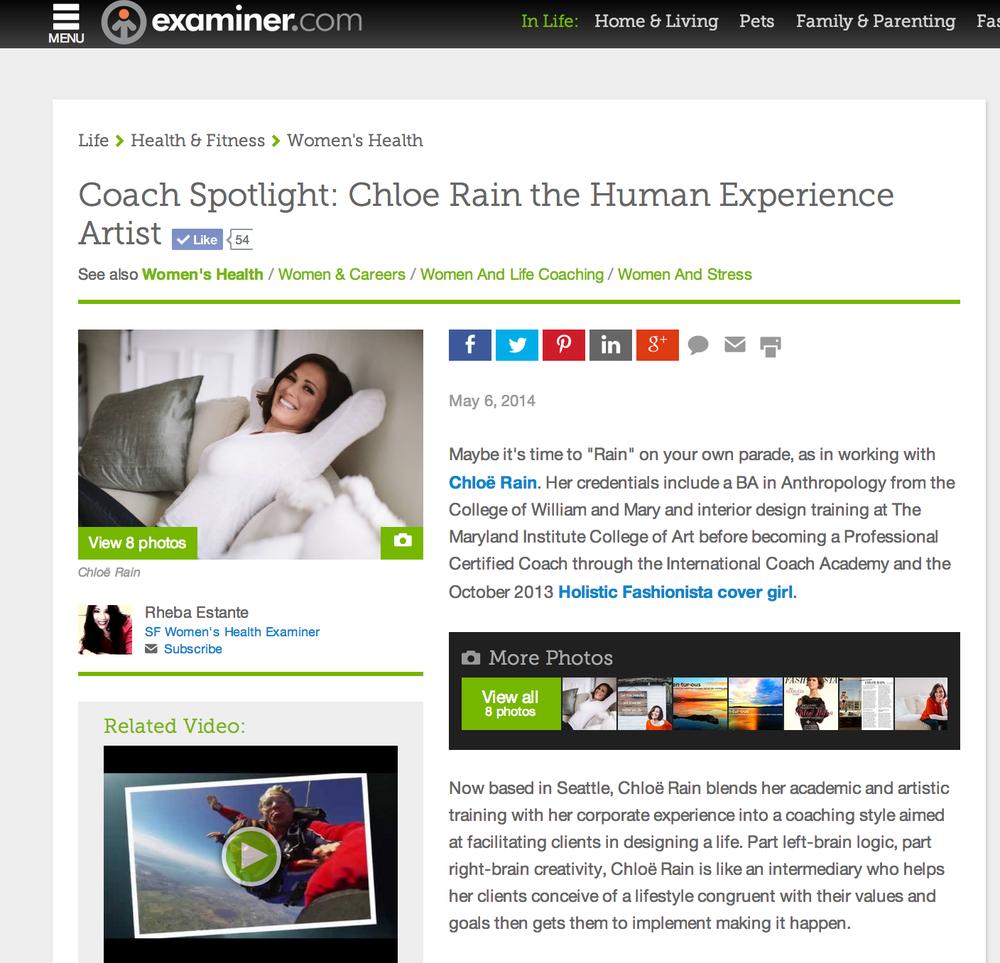 Coach Spotlight on the Examiner: Chloë Rain the Human Experience Artist