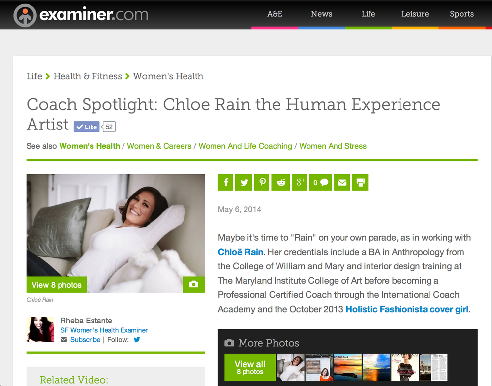 "Chloë Rain ""exceptional master coach"" & The Inner Authority Program as featured on the Examiner.com"