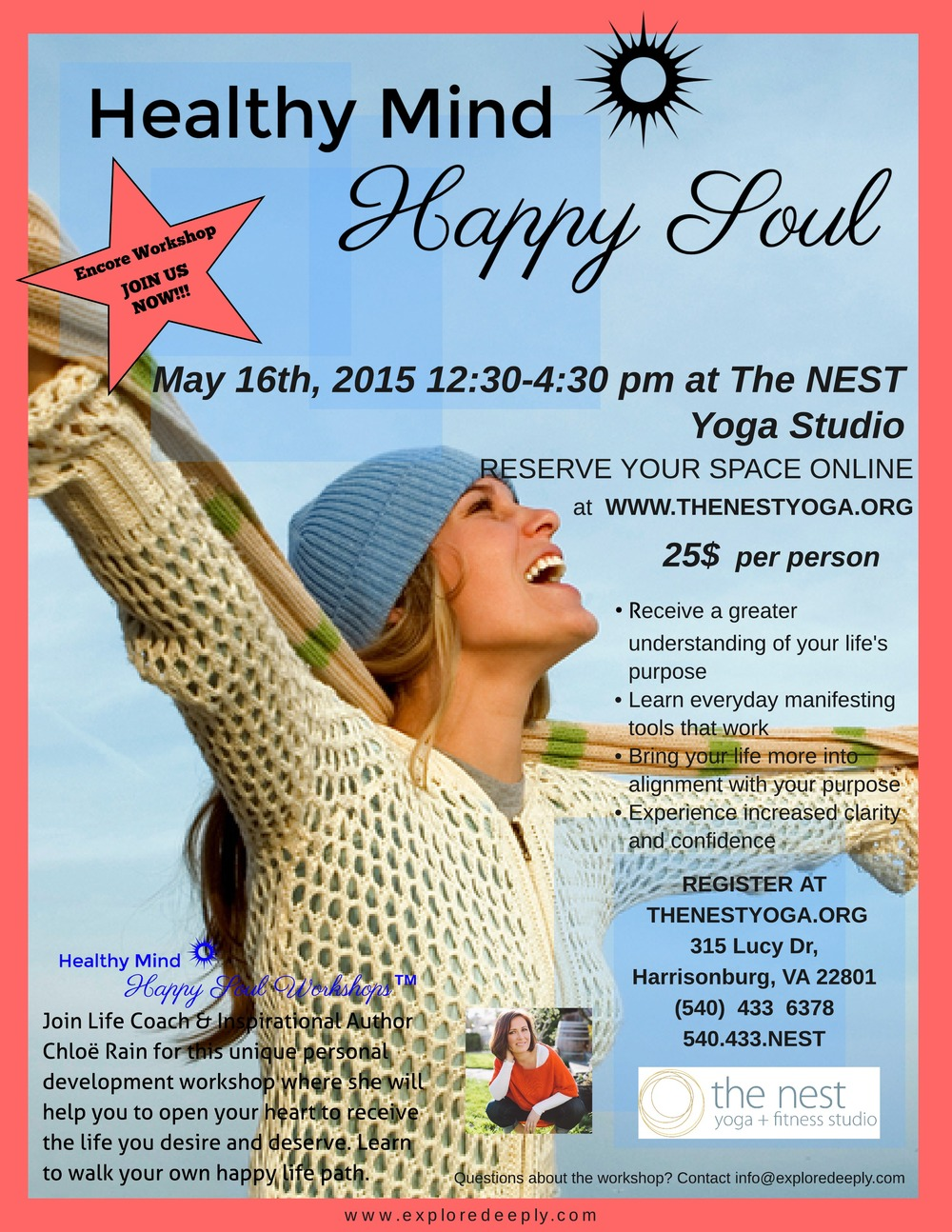 healthy mind happy soul workshop the nest yoga studio harrisonburg va