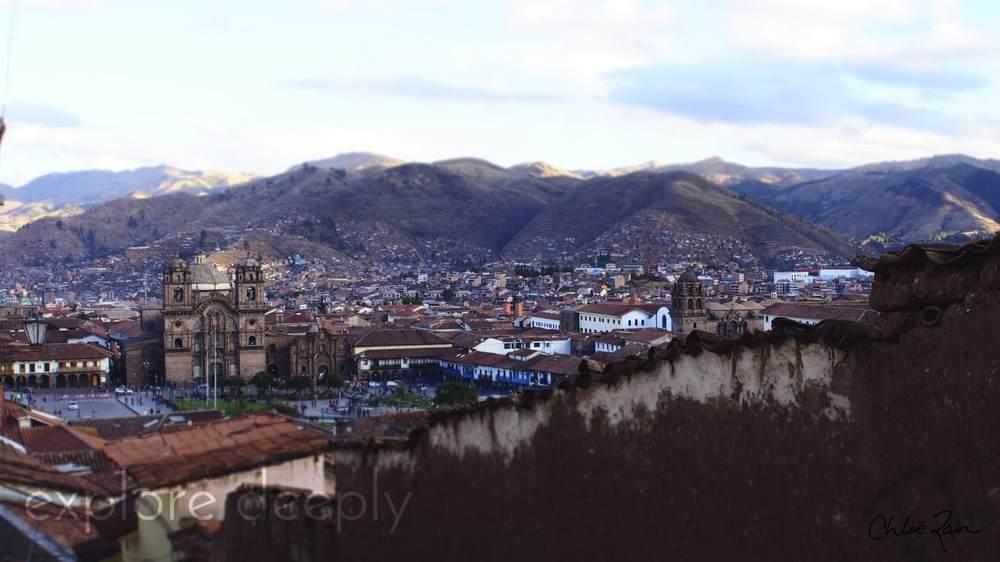 Looking down on Plaza De Armas, the center of the Cuzco City,Peru.