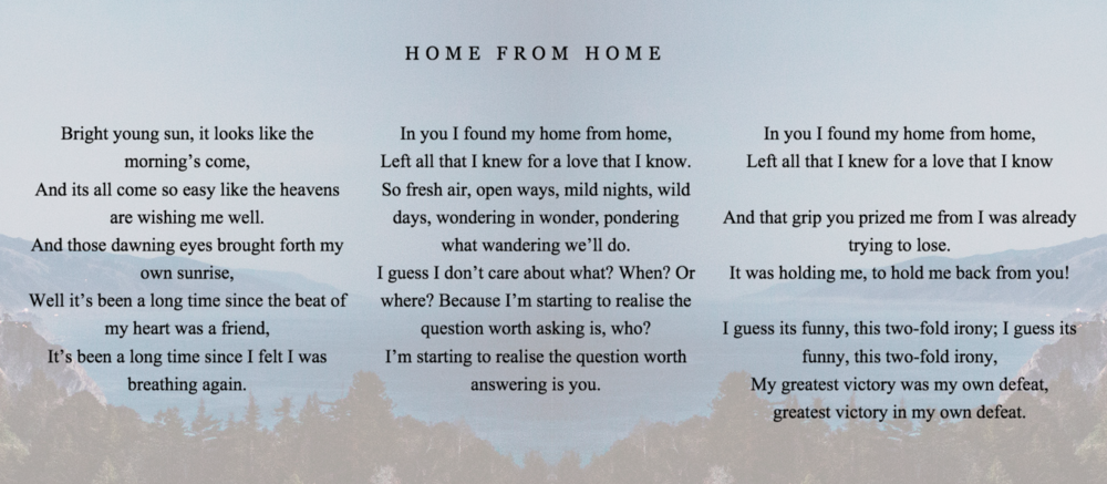 "Roo Panes Lyrics to ""Home from Home"""