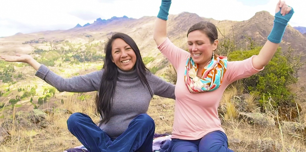 On top of the mountain, sending the energy transmissions of JOY : Divine Love & Flow,to all the women in our Collective Feminine Wisdom Program.