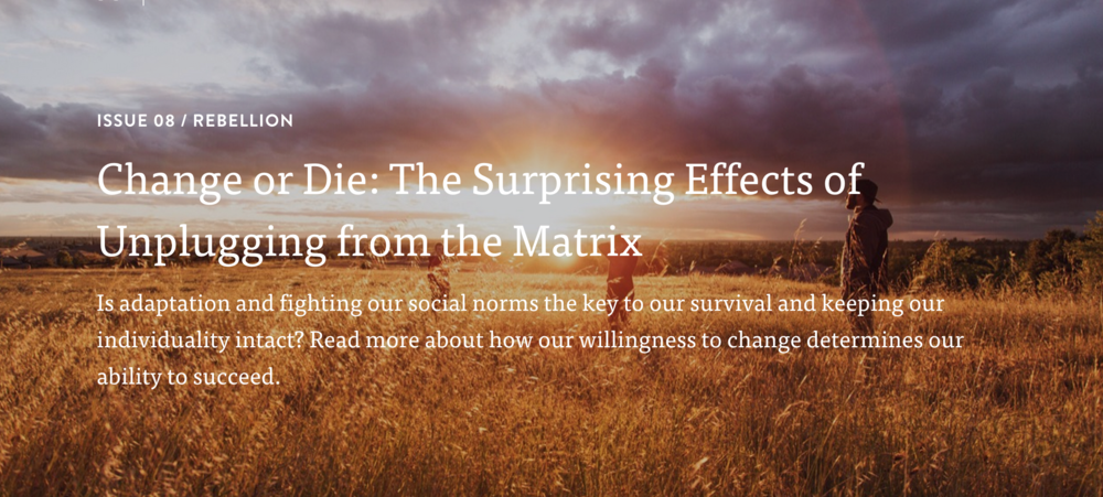Read the article as published on Mindful Matter:    Change or Die: The Surprising Effects of Unplugging from the Matrix    Is adaptation and fighting our social norms the key to our survival and keeping our individuality intact? Read more about how our willingness to change determines our ability to succeed.