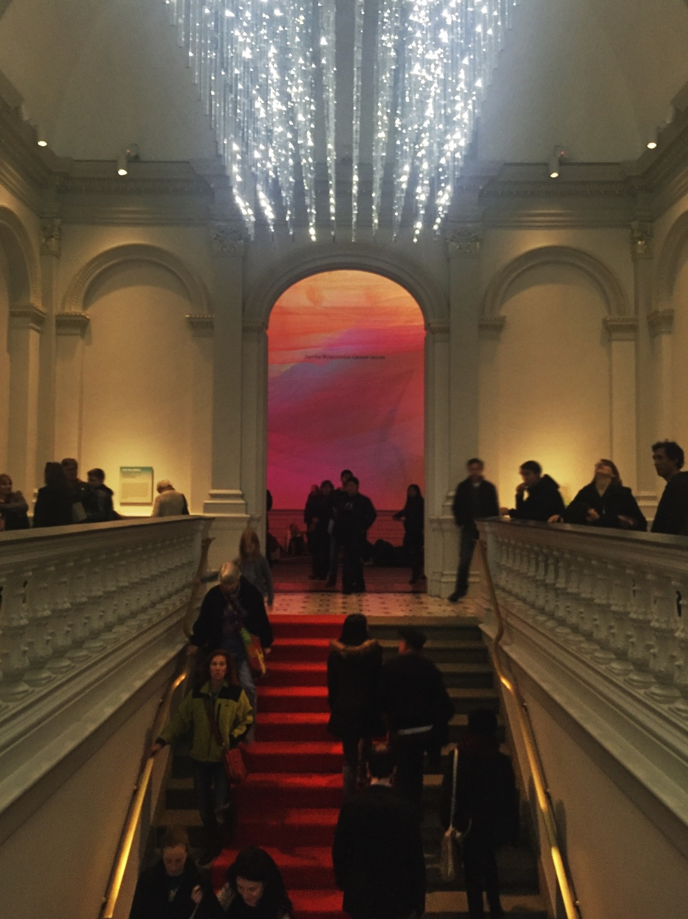 The Renwick Gallery Grand Staircase, featuring  Leo Villareal's  fascinating ever changing chandelier.