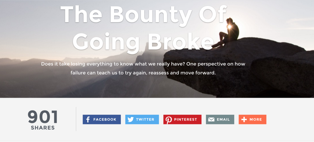 Article:  T  he Bounty Of Going Broke : As featured on  Mindful Matter .