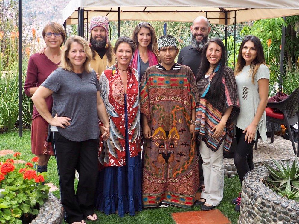 Chloë & Group participants with Maestro Juan Carlos Curandero and Q'orianka Cornejo Inka High Priestess