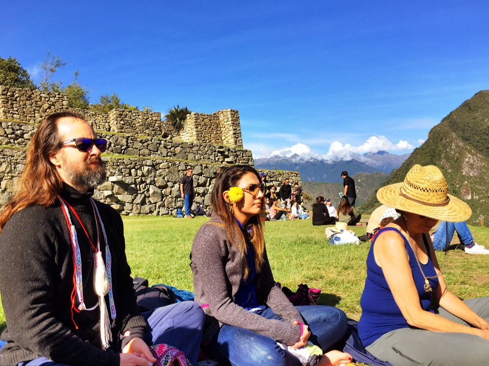 Meditation at the top of the Machu Picchu Mountain.