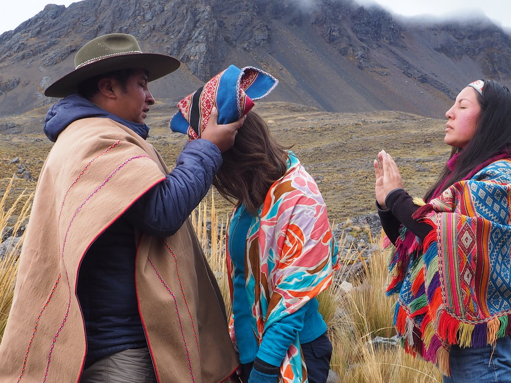 Initiation at the base of Apu Ausangate, with my Teacher Maestro Lorenzo, of the Inka Q'ero lineage, and my friend and colleague Q'orianka Gallegos, Inka High Priestess.