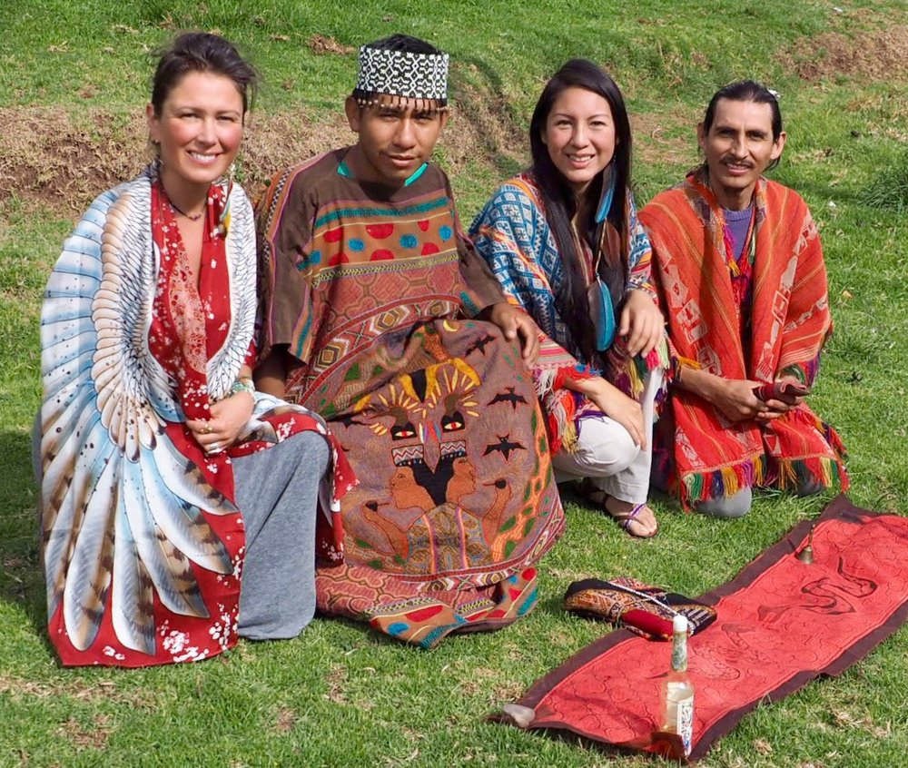 The Ceremonial Team - Left to Right: Chloë Rain | Spiritual Guide & Founder of Explore Deeply, Maestro Juan Carlos | Shipibo Curandero, Qorianka Cornejo | Inca Priestess, Peter Bermejo | Inca Priest
