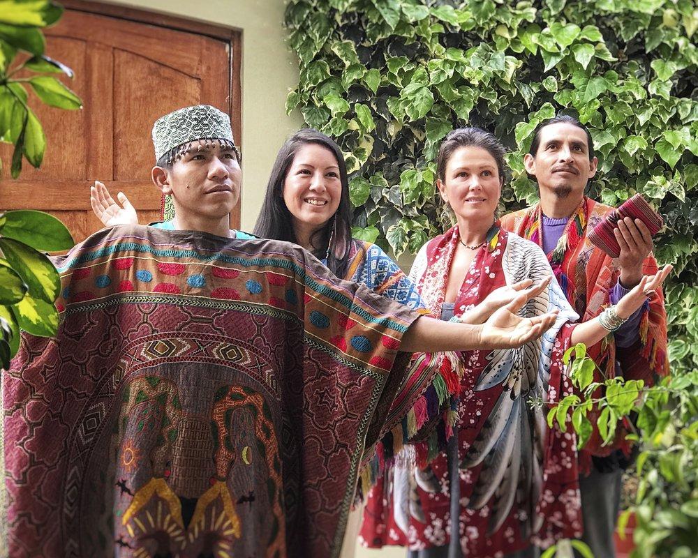 The Ceremonial Team - Left to Right: Maestro Juan Carlos | Shipibo Curandero, Qorianka Cornejo | Inca High Priestess, Chloë Rain | Founder of Explore Deeply, Peter Bermejo | Inca High Priest