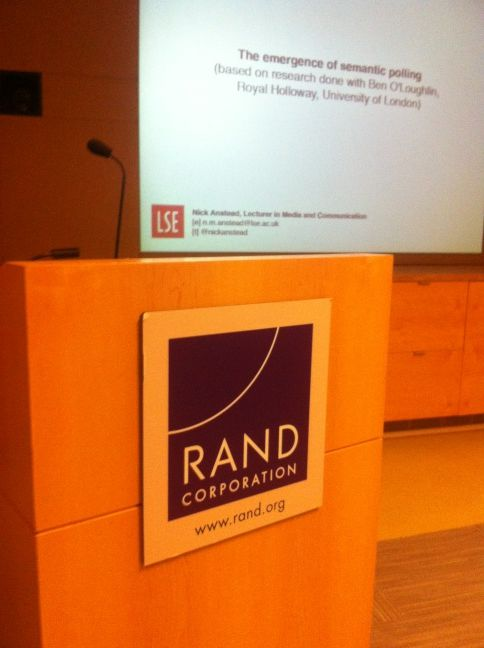 Guest lecture at the Rand Corporaton, California, May 2012