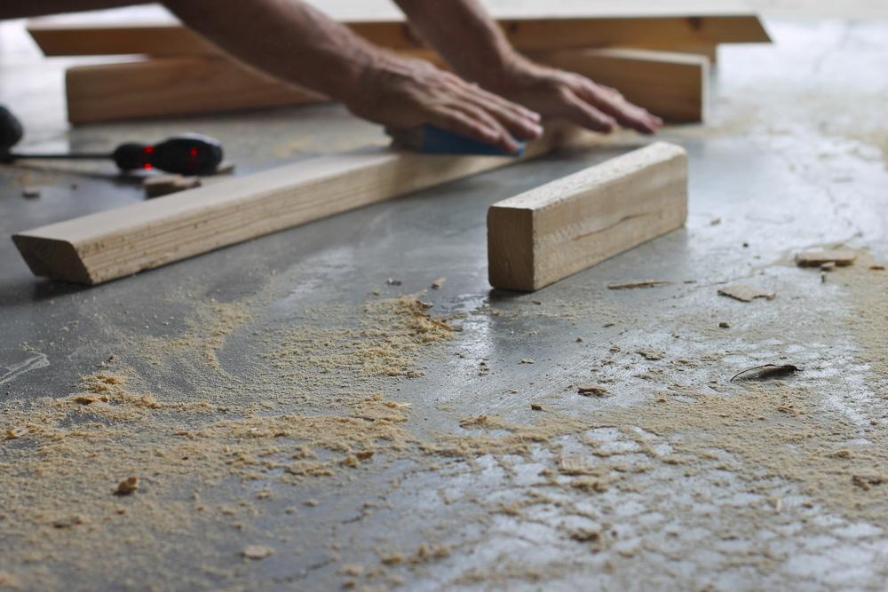 sanding each piece