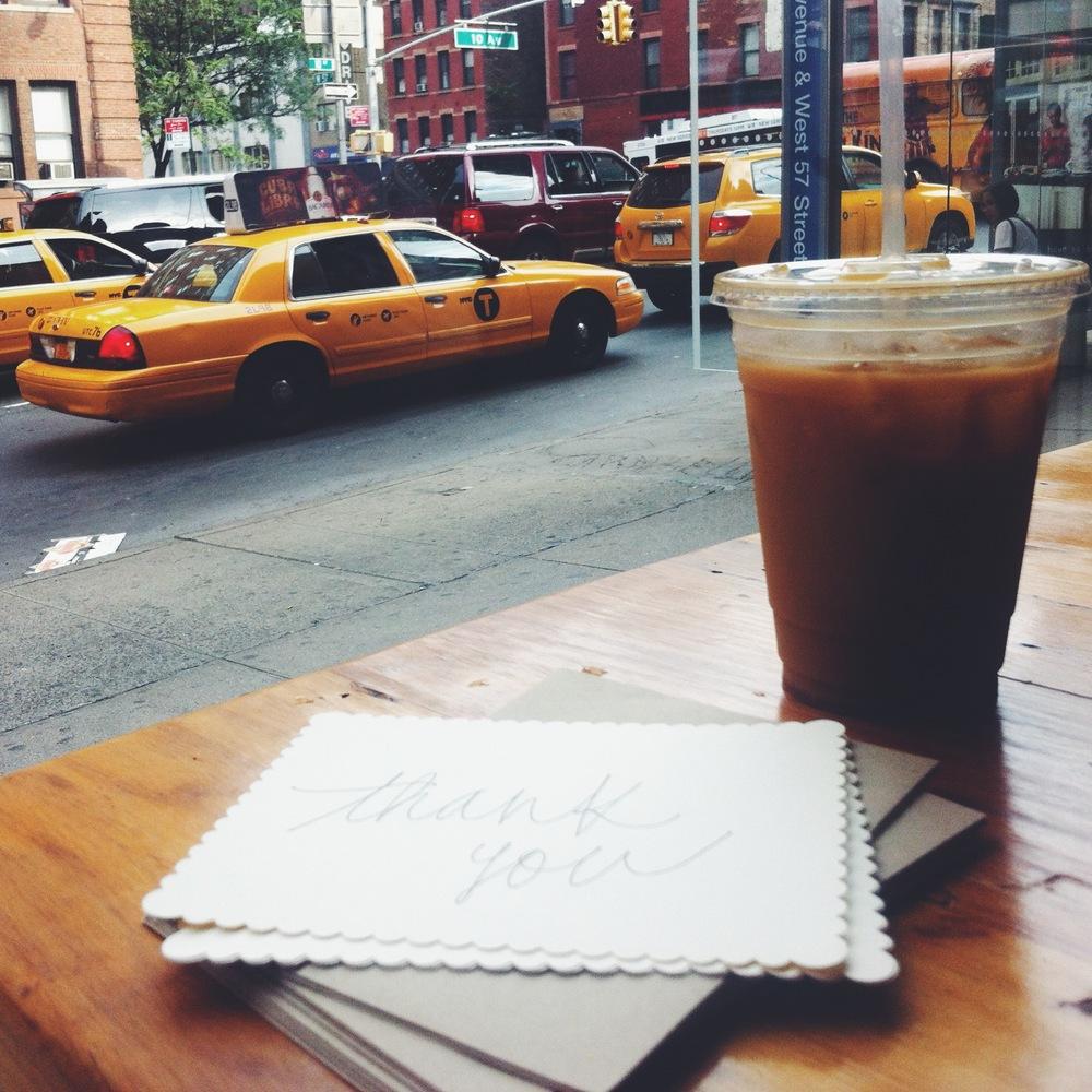 through Rex Coffee's window.
