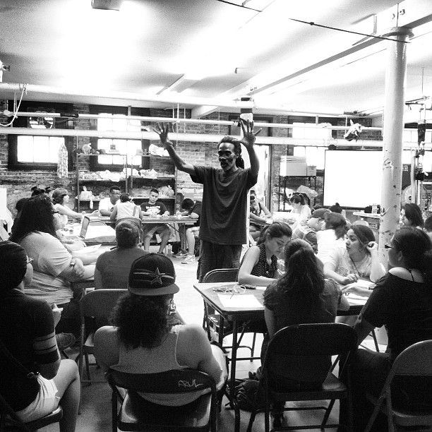 Spoken word artist Billy Tuggled stopped by PAS today to drop a lil' knowledge on #WRHH interns (Taken with Instagram)