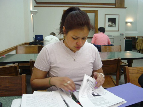 Christina Elizabeth Rodríguez putting in some study time at University of Illinois, 2006.
