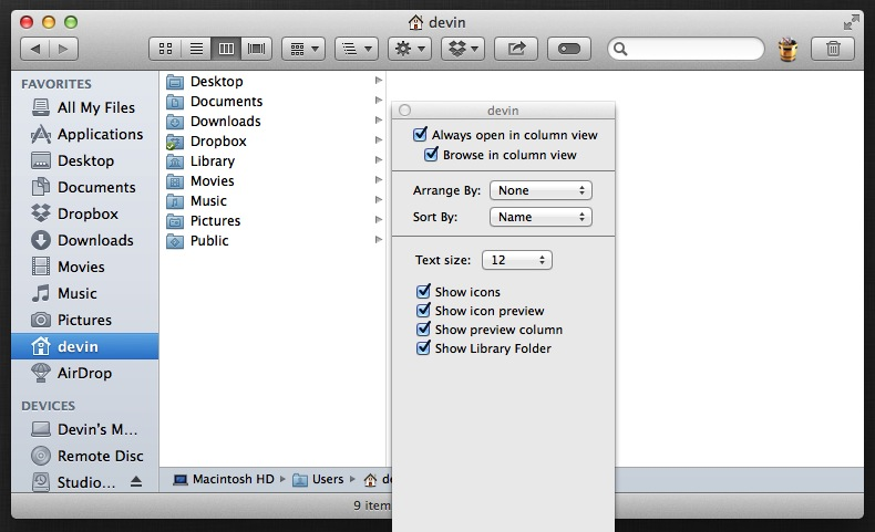 Show Library Folder