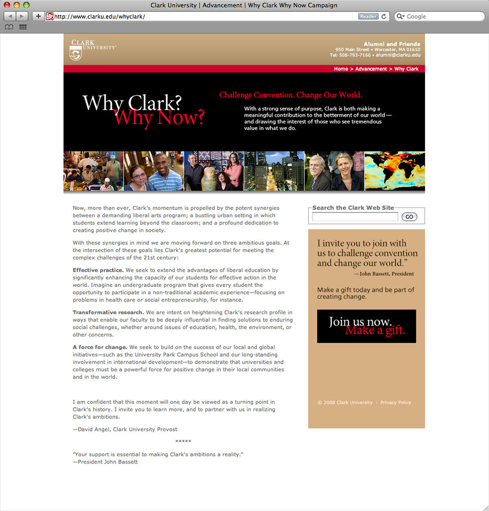 Why Clark? Why Now?  pre-campaign website