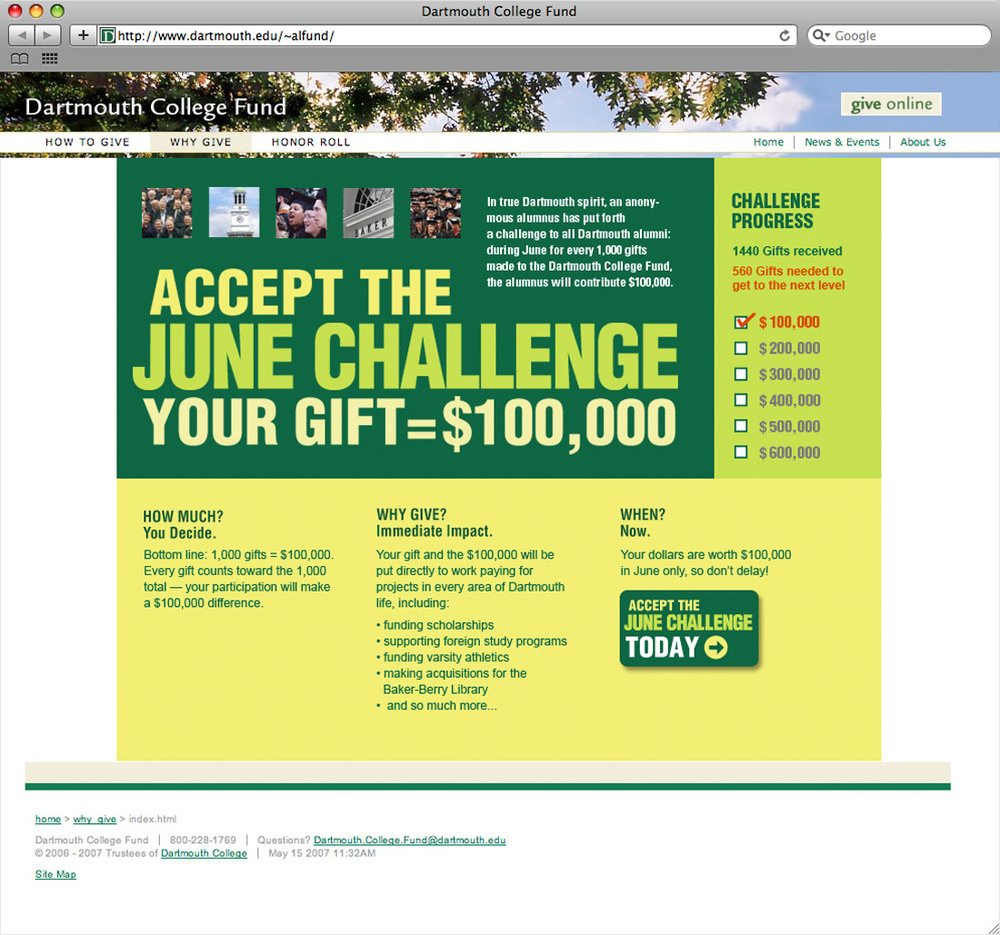 Dartmouth College Fund June Challenge website
