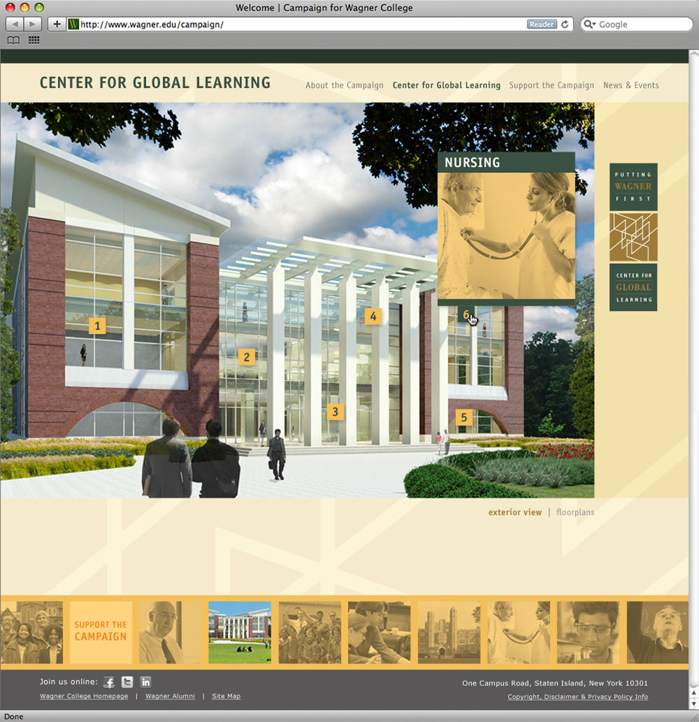 Wagner College campaign website, second level page