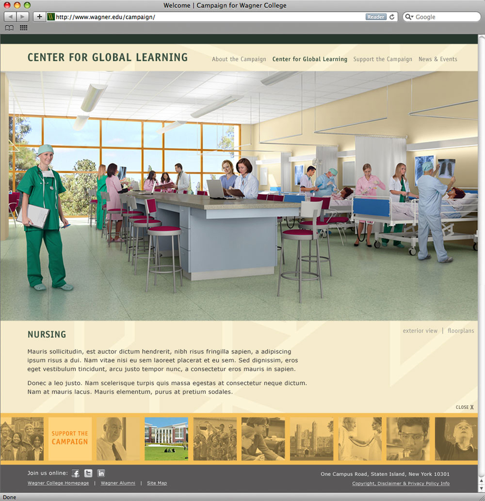 Wagner College campaign website, third level page