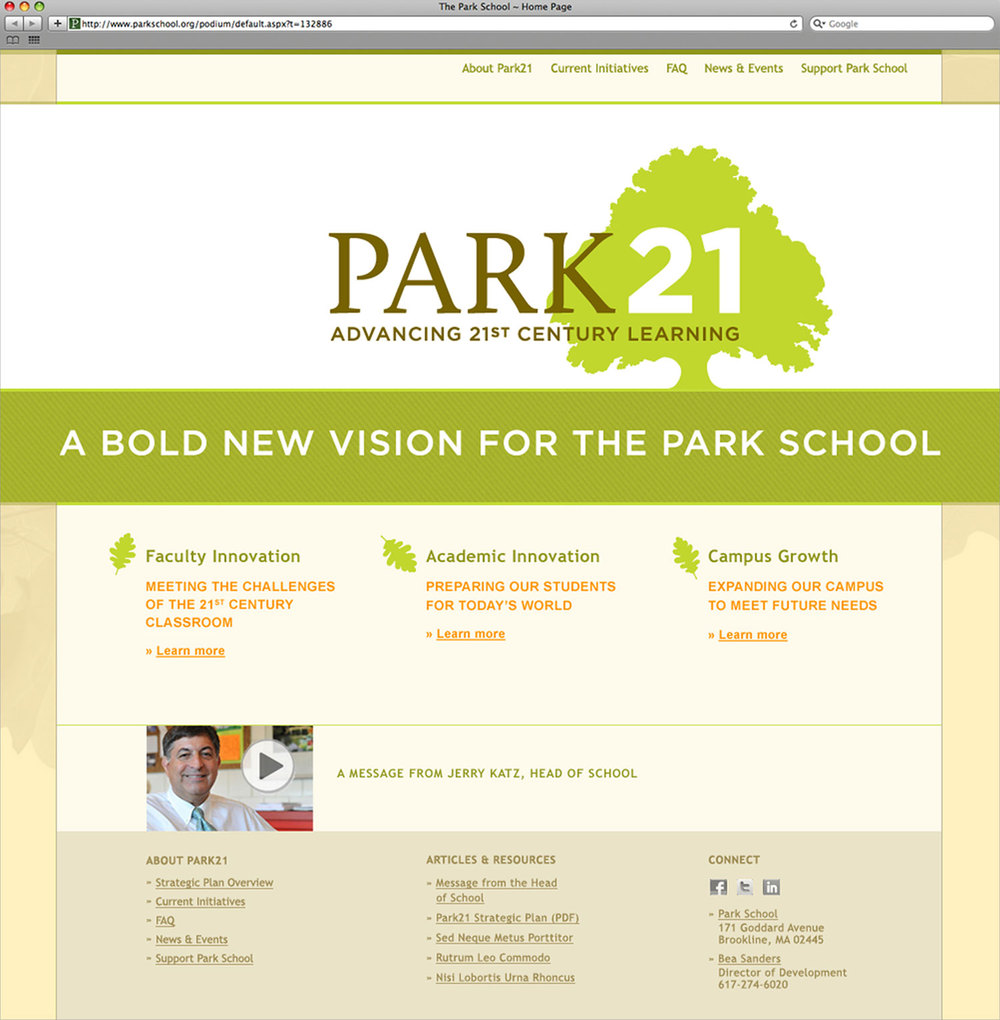 Park 21 website, homepage