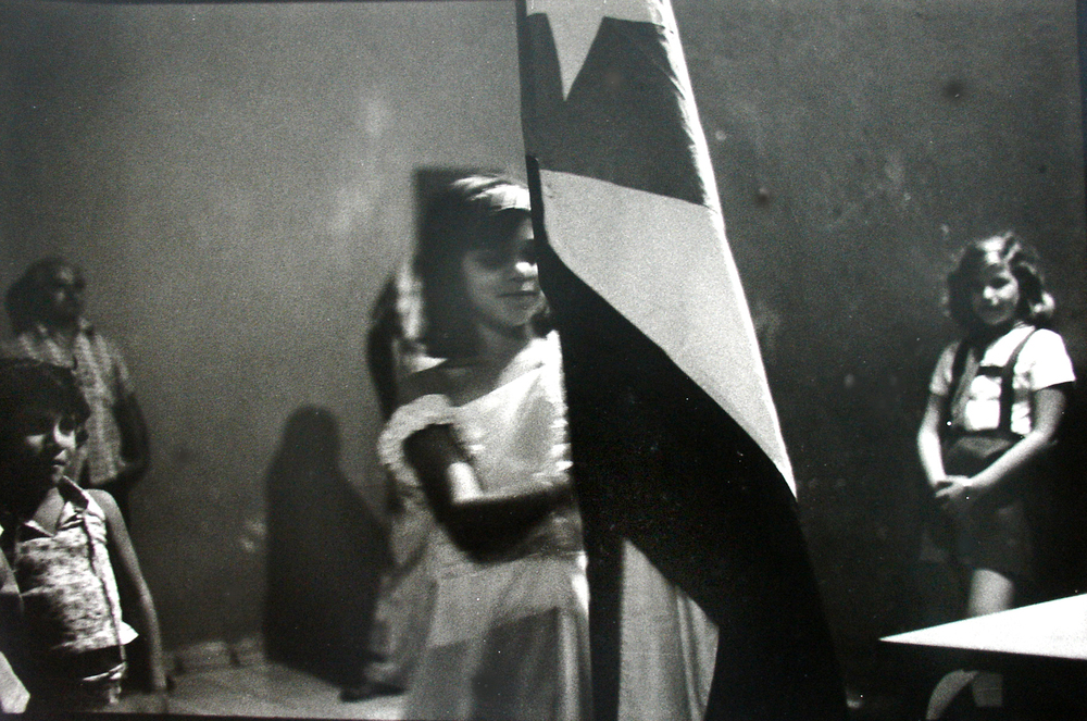 7 Girl with Cuban flag, Oriente, 1984.JPG