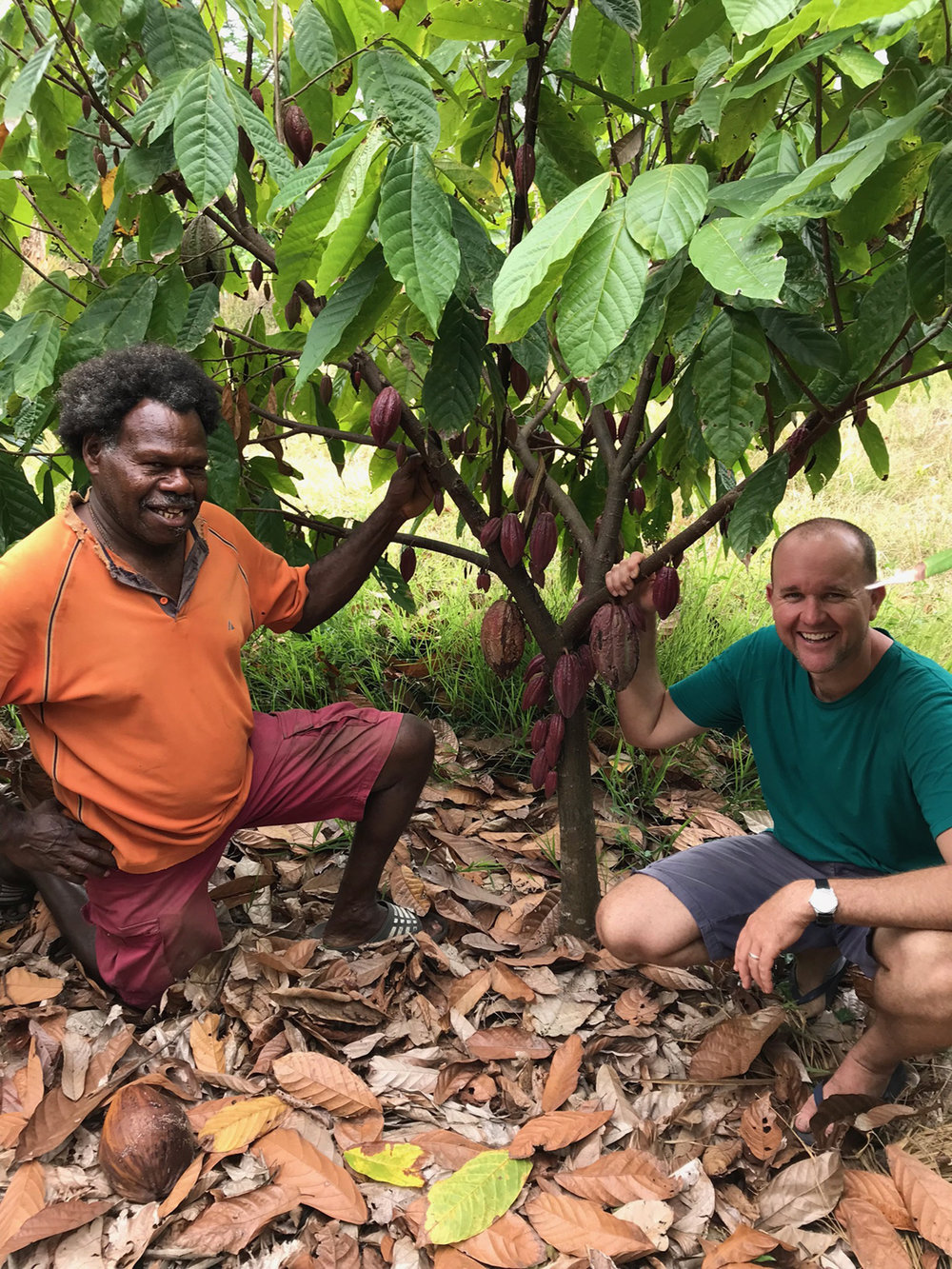 Chocolate maker Luke Spencer, pictured with cocoa grower Lui Ross