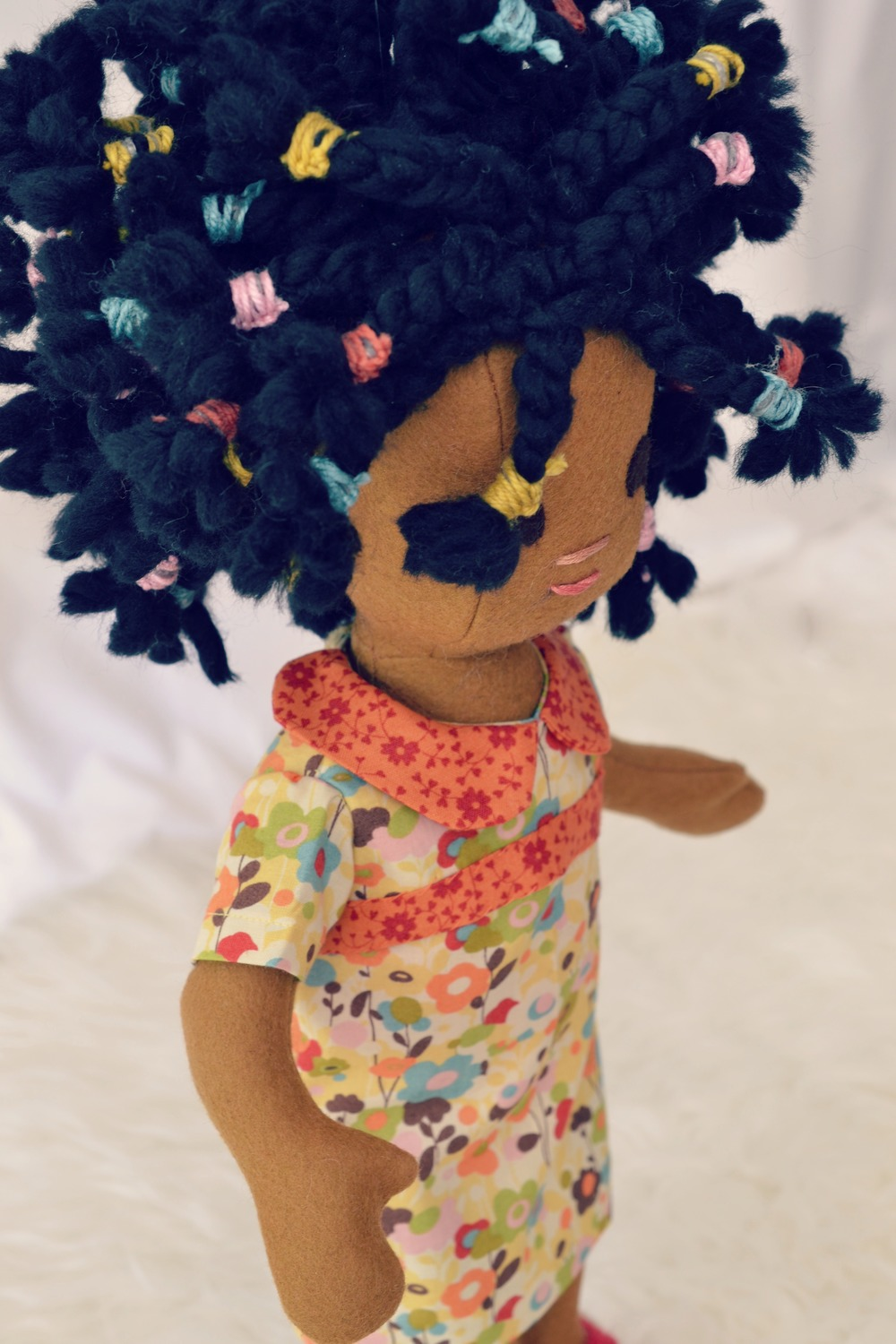 Handmade doll with braids