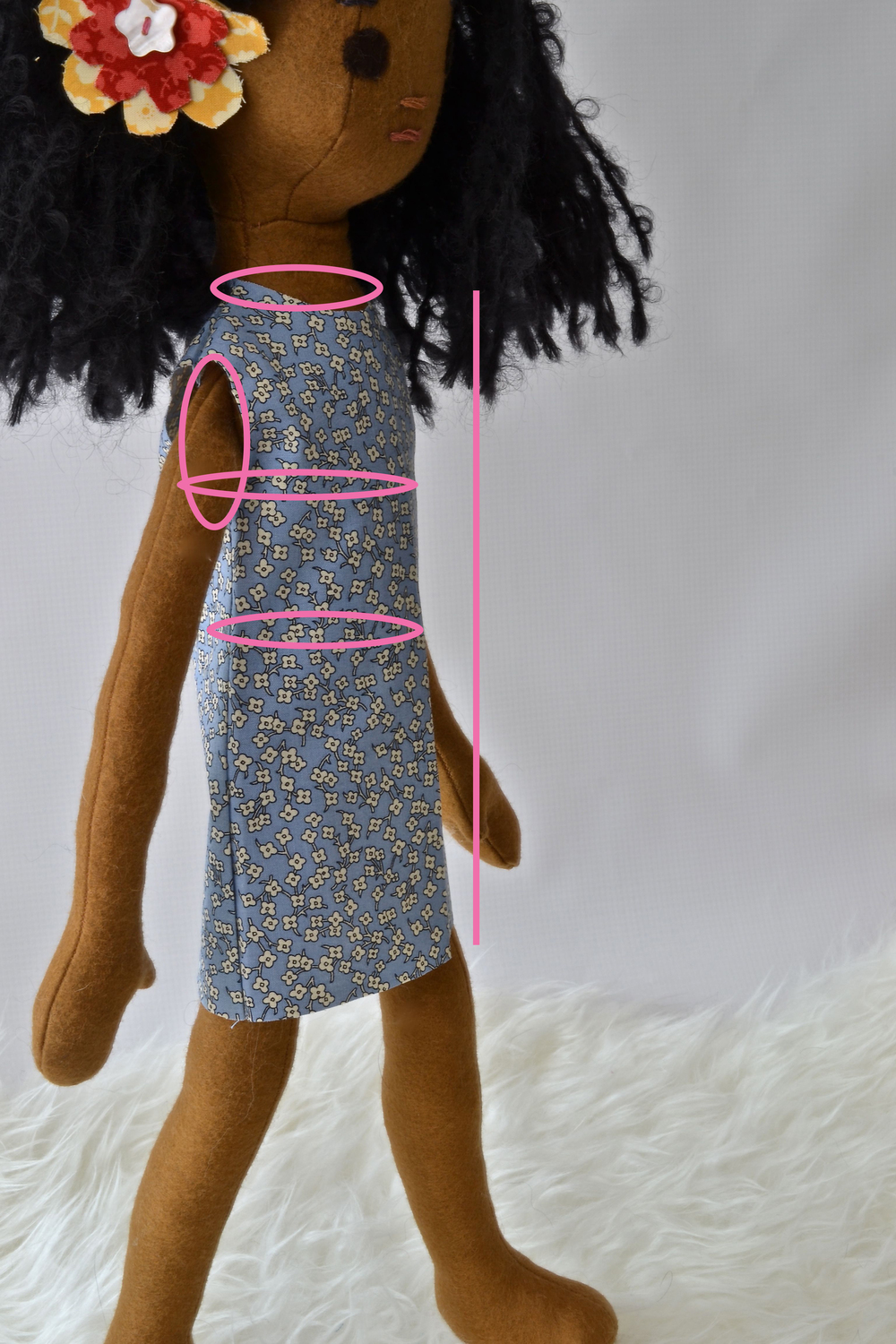 Key areas for adjusting fit in a doll dress