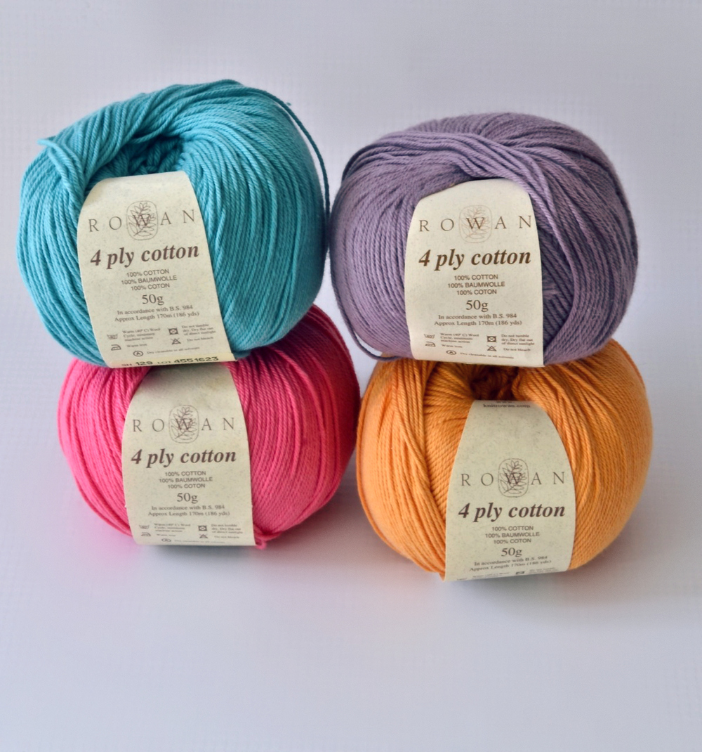 Four of the amazing colors Rowan 4ply cotton came in