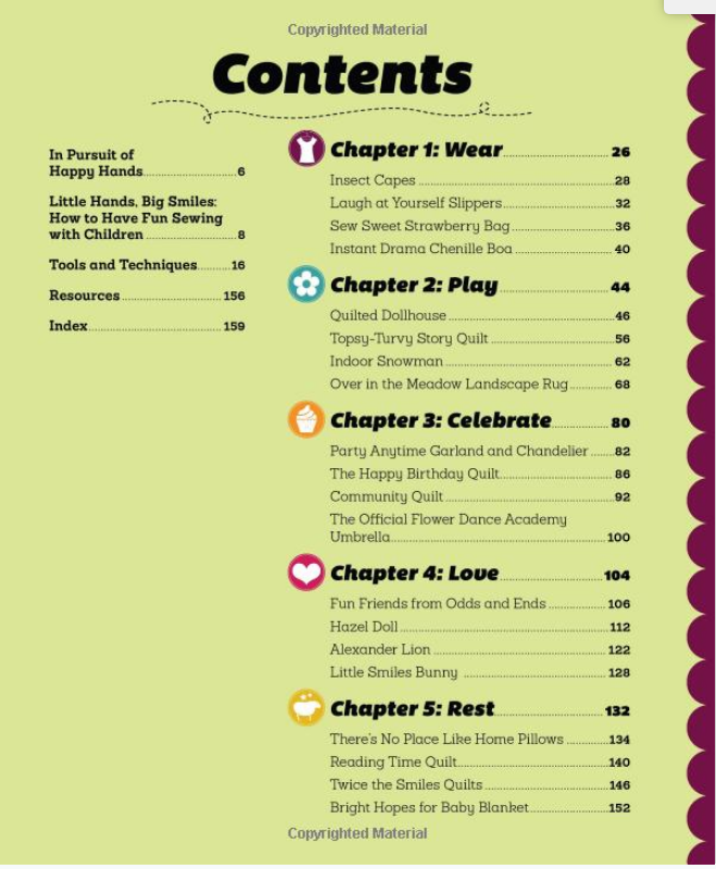 Sew Fun Table of Contents