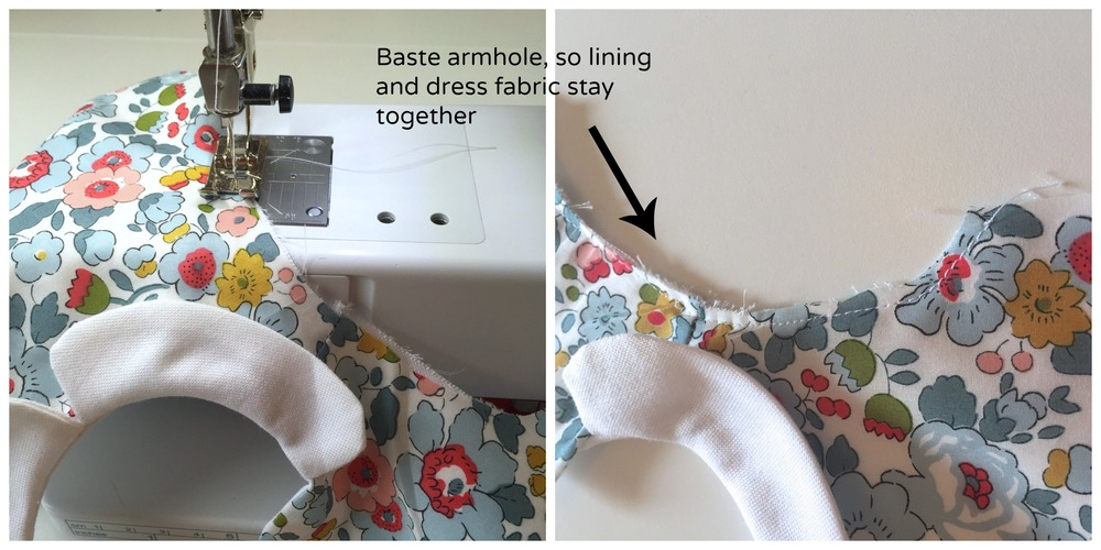 Basting the armhole edges